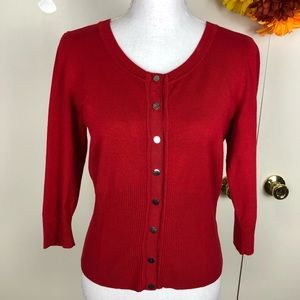 WHBM CROPPED CARDIGAN SCOOP NECK BUTTONED SZ SM